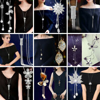 Elegant Pearl Crystal Leaves Flowers Multilayer Pendant Necklace Women Jewelry