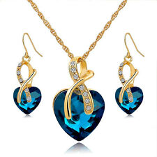 Gift! Gold Plated Jewelry Sets For Women Crystal Heart Necklace Earrings