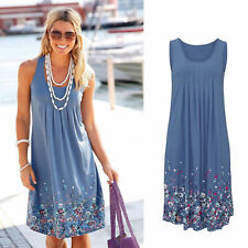 Summer Womens Flower prints Sleeveless Evening Party Beach Dress Mini Lace Dress
