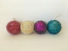 Handmade Christmas Satin Balls Beaded Sequin Ornaments Lot of 4
