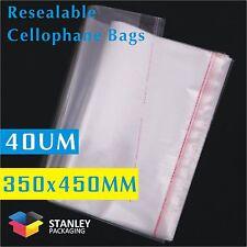 100x Polypropylene Bag 40UM 350x450mm Cellophane Clear Plastic Bags +30Lip Cello