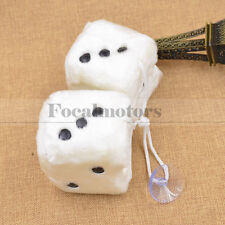 Cute Lovely Fuzzy Dice Car Mirror Hanging String White Dots Pendant