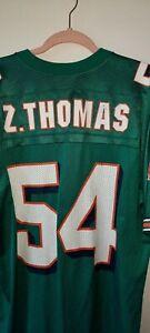 ADIDAS NFL LICENSED MIAMI DOLPHINS ZACH THOMAS 54 AQUA JERSEY SIZE LARGE L EUC