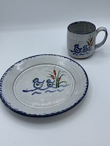 Owen Pottery Seagrove NC -  Childs Cup and Plate Set Redware Salt Glaze Ducks