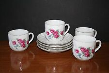 Set of 4 WWII German Antique Tea Cups & Saucers Made in GERMANY Pink Rose EUC