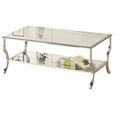 Pemberly Row Glass Top Coffee Table in Chrome