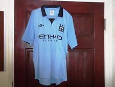 MANCHESTER CITY Jersey MCFC Home Soccer Polo Shirt Football Futbol Mens 40 Mint