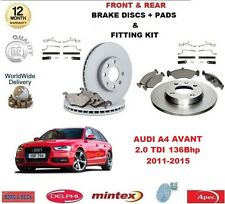 FOR AUDI A4 AVANT 2.0 TDI 136 BHP FRONT & REAR BRAKE DISCS & PADS + FITTING KIT
