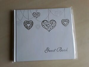 Wedding Guest Advice Message Book with Hanging Silver Hearts Marriage Mr Mrs