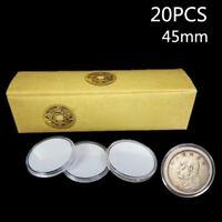 20pcs 45mm Angewendet Klar Rund Hüllen Münze Aufbewahrung Halter mit / Pad