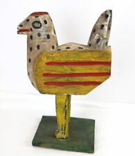 "Hand Carved Guatemalan Folk Art Painted Wooden Chicken Statue Primitive 12"""