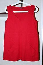 Ladies Marimekko Vest Sweater Front Pockets Warm V Neck Red Color Size S