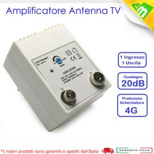 AMPLIFICATORE ANTENNA DI LINEA TV DA INTERNO DIGITALE TERRESTRE 1IN-1OUT 20dB
