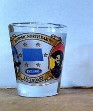 Historic North Dakota Legendary Frosted Shot Glass -Custer Lewis Clark Roosevelt