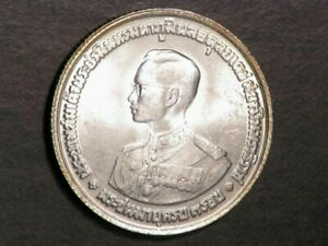 THAILAND 1963 20 Baht King Bhumiphol Birthday Silver BU