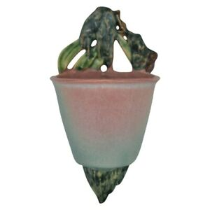 Roseville Pottery Moss 1936 Pink And Green Bucket Wall Pocket 1279-4