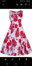 Lady Vintage Jasmine Dress BNWT Size 12 Lilac With Red Rose Floral Pattern