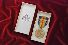 WWI U.S. VICTORY MEDAL w/2 BARS IN BELGIUM MARKED BOX
