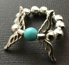 SILVER ball stretch Finger Thumb RING with WINGS and TURQUOISE boho Bijoux