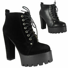 Women's Synthetic Leather Lace Up Block Ankle Boots Shoes