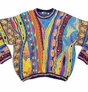 Mens XL Tundra Canada 3D Citrus Color Coogi Style Sweater Biggie Cosby Cotton