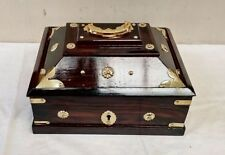 Antique Style Treasure Jewelry Ornament Box Dowry Kerala India Wooden box New