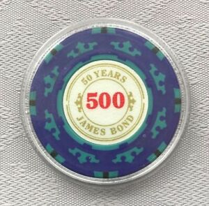 JAMES BOND 007 - 50 YEARS, $500 POKER CHIP CARD GUARD/PROTECTOR