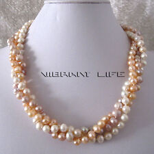 """20"""" 6-8mm White Peach Pink Lavender 3Row Freshwater Pearl Necklace U"""