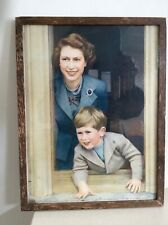 Vintage circa 1955 Print of Queen Elizabeth II and Prince Charles