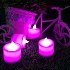 2//12//24PCS Multicolor Rose Lotus Lights Sin Llama Lámpara De Acuario Vela LED
