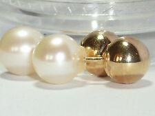 "Aparter Doppel Ohrring"" Two in One"" - Echte Süßwasser Perle + Gold Kugel 10 KT"