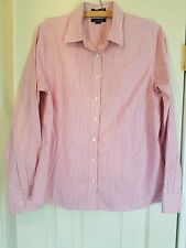 Lands End Women's Sz 8 Long Sleeve No Iron Pinpoint Oxford pink stripes C1