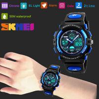 SKMEI Alarm Silicon Sport LED Digital Wrist Waterproof Watch For Kids Boy's Girl