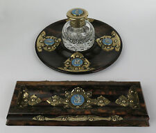 Coromandel desk set with jasperware cameos c1815. Antique writing pen inkwell