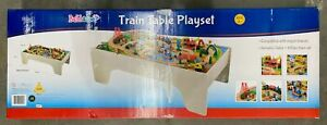 NEW BUBBADOO 100PC WOODEN TOY TRAIN SET WITH TABLE BD0003 - Damaged Box