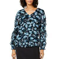 ALFANI NEW Women's Smocked Ruffle-sleeve Mesh Blouse Shirt Top TEDO