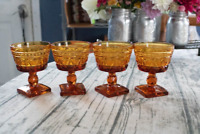 LOT of 4 Vintage INDIANA GLASS PARK LANE Square Base AMBER SHERBERT CUPS