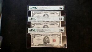 3 CONSECUTIVE 1963 FIVE DOLLAR PMG GEM UNC 65 RED SEAL NOTES THREE $5 BILLS!