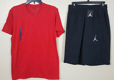 NIKE AIR JORDAN SHORTS +2 SHIRTS OUTFIT LOT OF 3 RED BLACK RARE NEW (SIZE SMALL)