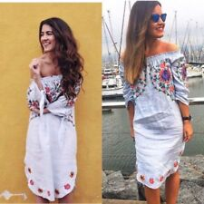 Linen Dresses for Women with Embroidered