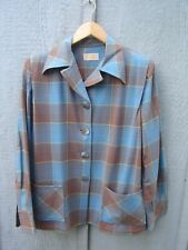 A+ Vintage Mid Century Shirt Pendleton 49er Padded Jacket Plaid Ladies Sm-Med
