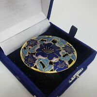 VINTAGE Fish & Crown Blue Enamel Floral Brooch Cut Out Oval Large