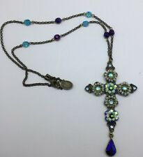 Michal Negrin Enamel Crystals & Beads Long Necklace Cross Pendant Rare Piece