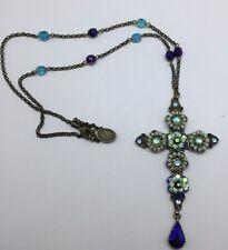 Michal Negrin Enamel Crystals & Beads Long Necklace Cross Pendant Rare Piece