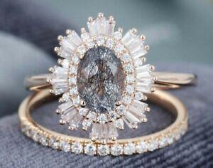 Vintage Unique Oval Brilliant Cut Halo Engagement Ring Set S925 Silver
