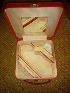 Vintage Red Vinyl Travel Jewellery Case With Key 1960s