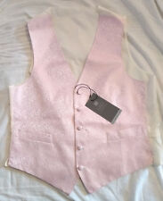 M&S Mens Pink & Cream Pure Silk Five Button Floral Waistcoat Size M BNWT