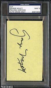 George Myatt Signed Jumbo 3x5 Cut PSA/DNA 9 MINT Certified AUTO