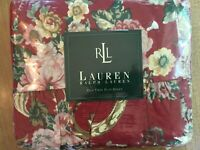 "NEW Ralph Lauren ""Danielle/Marseilles"" Red Floral TWIN Flat Sheet Ruffle French"