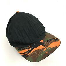 VINTAGE New York Hat Orange Camouflage Baseball Cap Duck Camo Strapback Black